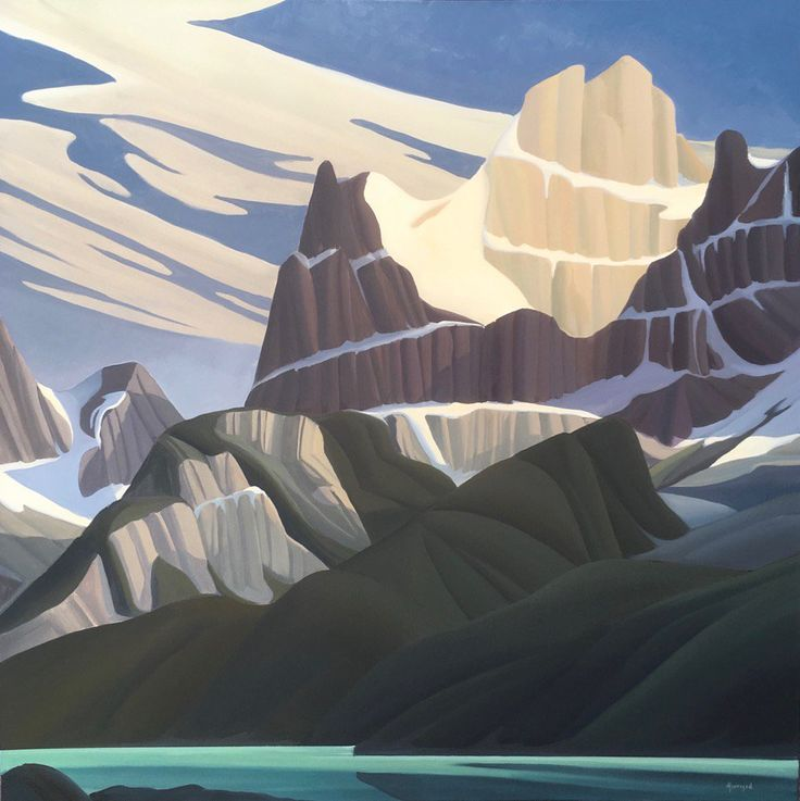 Ken Harrison - Mount Biddle and Lake O'Hara 48 x 48 Oil on canvas