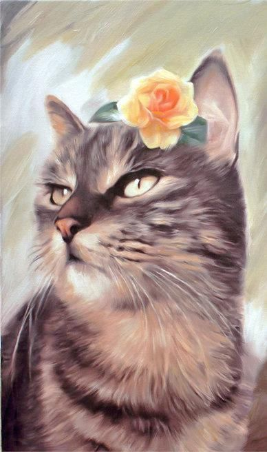 Christmas Gifts Custom Cat Portrait on Canvas  Home decor by AnastassiaArt on #etsy #blackfriday gift for her