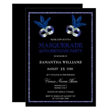 The 25 best 50th birthday invitations ideas on pinterest 60th stylish blue glitter masquerade 50th birthday card stopboris Image collections