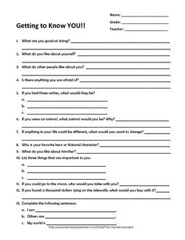 Getting to Know YOU- Student Questionnaire
