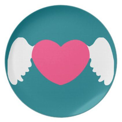 Heart Wing White-Pink Dinner Plate - valentines day gifts love couple diy personalize for her for him girlfriend boyfriend