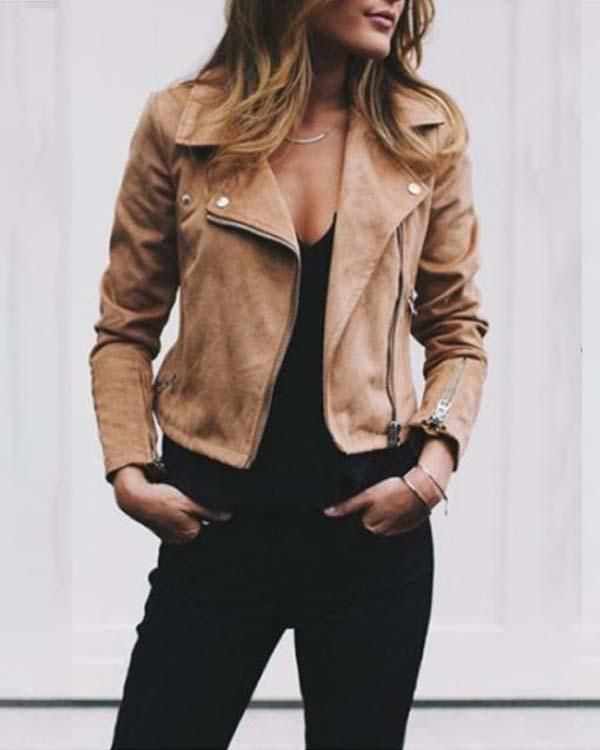 1 Zippers Jacket Oumiss Leather Jackets Women Casual Coats For Women Fashion