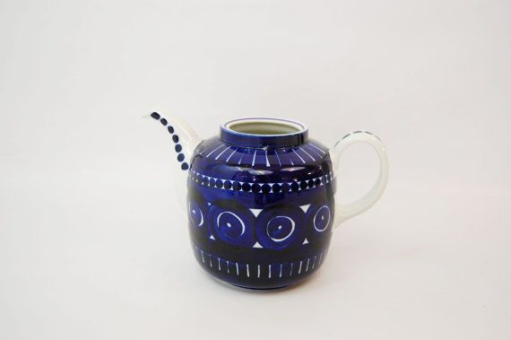 Arabia Finland Valencia Cobalt Blue Teapot / No by MidCentury55