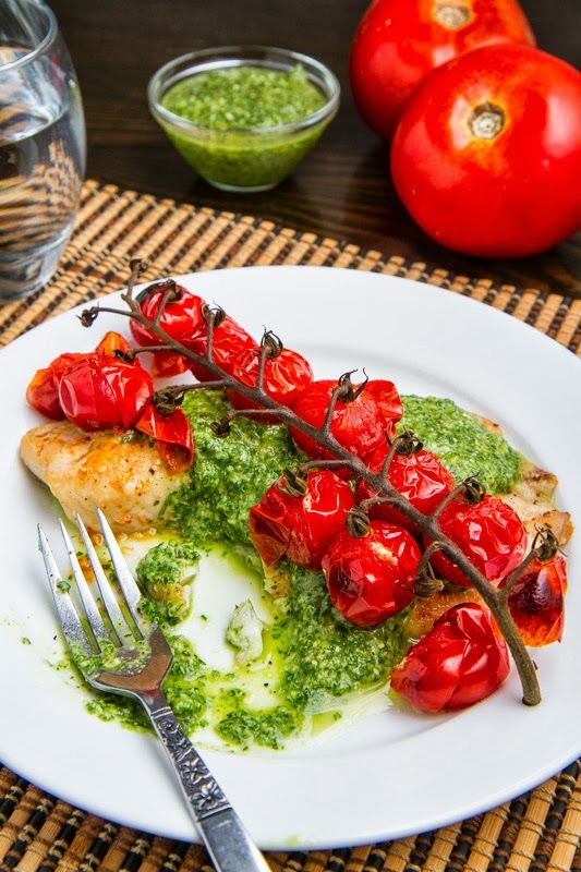 Parmesan Crusted Pesto Tilapia with Roasted Tomatoes by closetcooking #Tilapia #Pesto #Tomatoes