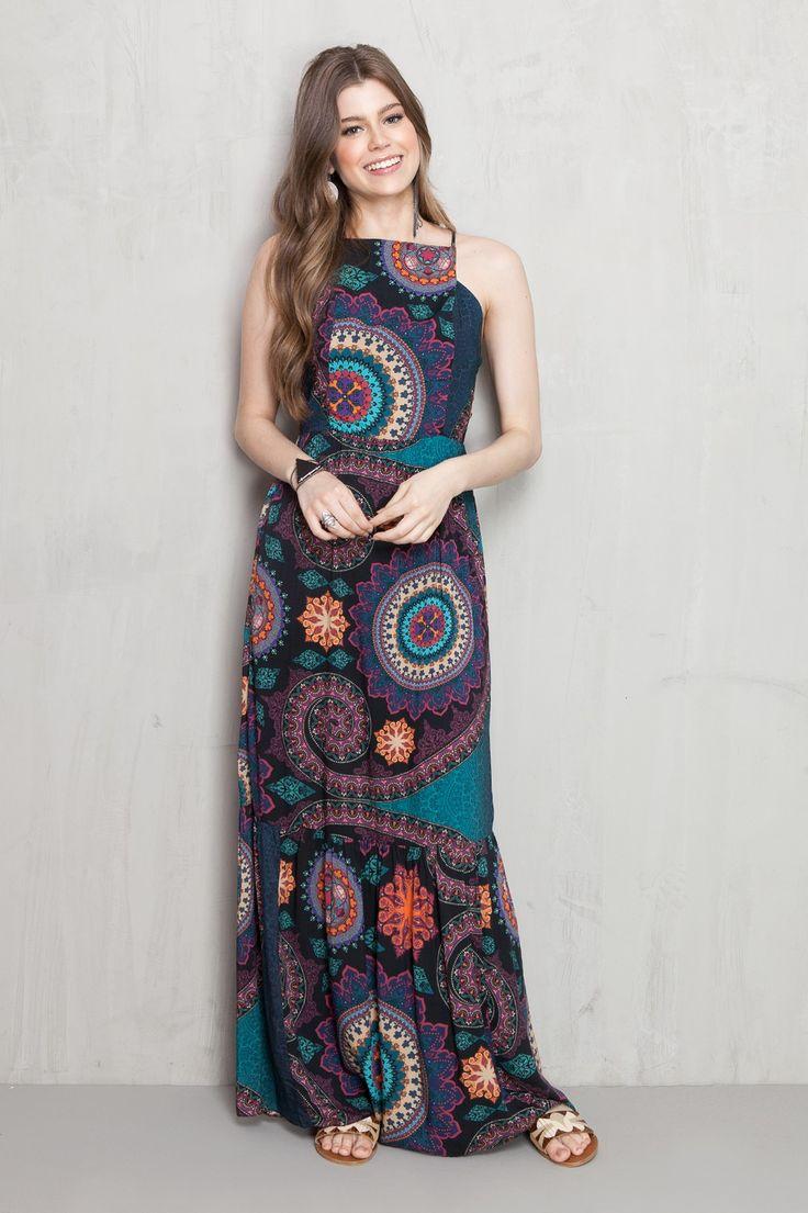 vestido longo estampado space   Dress to