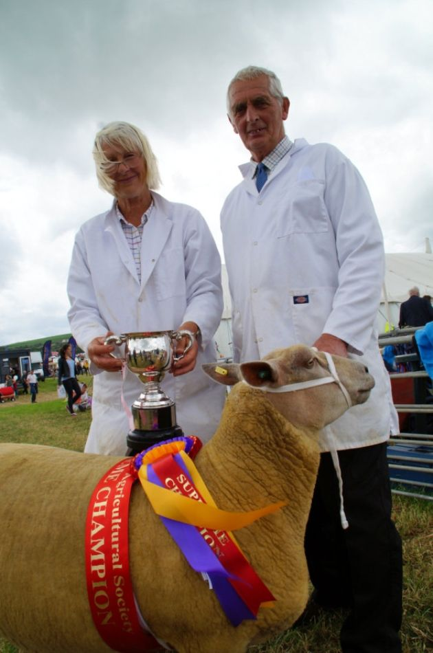 Carol and Terry Irwin from Kings Nympton, with their supreme champion Brandwell Charollais. Picture: Andy Keeble