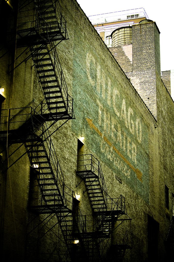 Chicago Theatre | Back Alley | Industrial Vintage Look | Stairs | Green | Steel | Ghost Signs | White | Brick | Warehouse Home Design Magazine