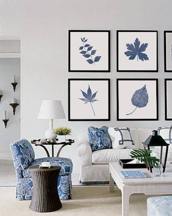 Blue Botanical Print Leaf Wall Art Set Of 4 Navy Blue Print Etsy Veraniegas Blue And White Living Room Coastal Decorating Living Room Blue Rooms