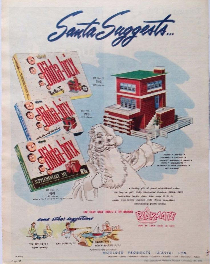 BILDA-BRIX PRE LEGO ADVERT RETRO TOYS BOX 1953 original vintage AUSTRALIAN AD