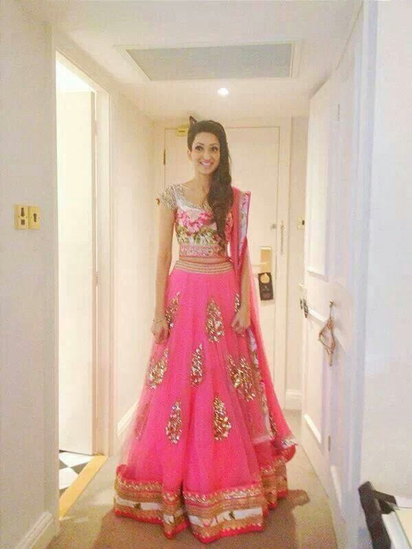 love the floral blouse paired with this skirt. pink floral lehenga by?