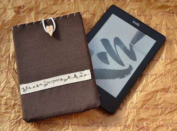 """Funda acolchada para Kindle de 6"""" (Kindle 4) con cierre de cuerda elástica / ebook / e-book / e-Reader / tablet / ereader / móvil"""