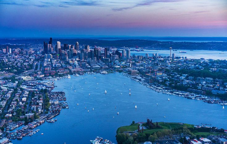 Seattle Dusk Cityscape Photograph - Aerial Seattle And Lake Union Photography by Mike Reid