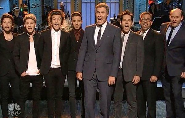 Paul Rudd's opening SNL monologue was interrupted by One Direction, so he brought in the cast of Anchorman 2 to sing 'Afternoon Delight' because he was fed up getting outshined by SNL musical guests.  via SNL...
