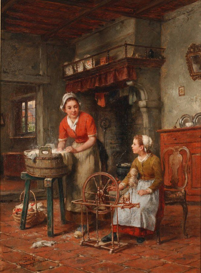Charles Petit, Grandmother's Spinning Wheel - Frans spinnewiel typisch driehoekige basis