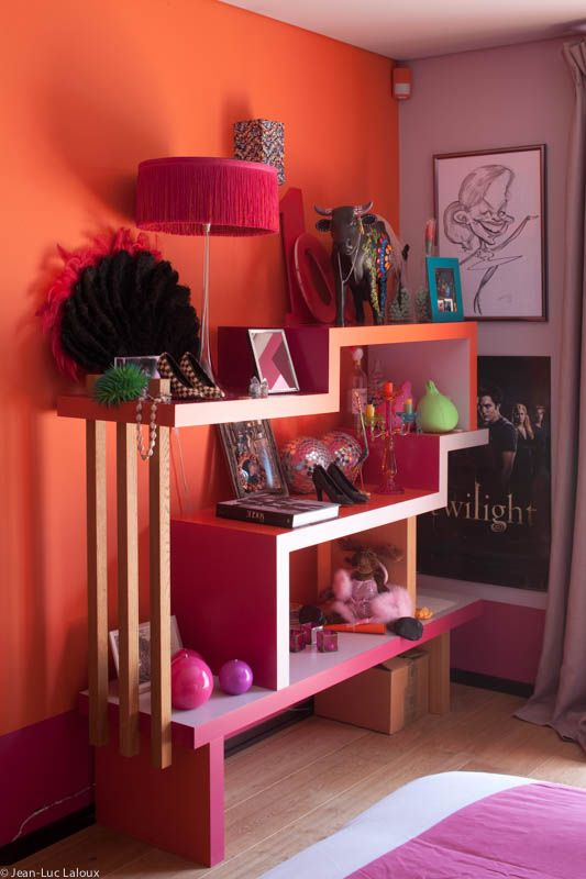 Colourful and clever storage for a teenagers room  #storage #cleverdesign #design #interiors #interiordesign #designer #homes