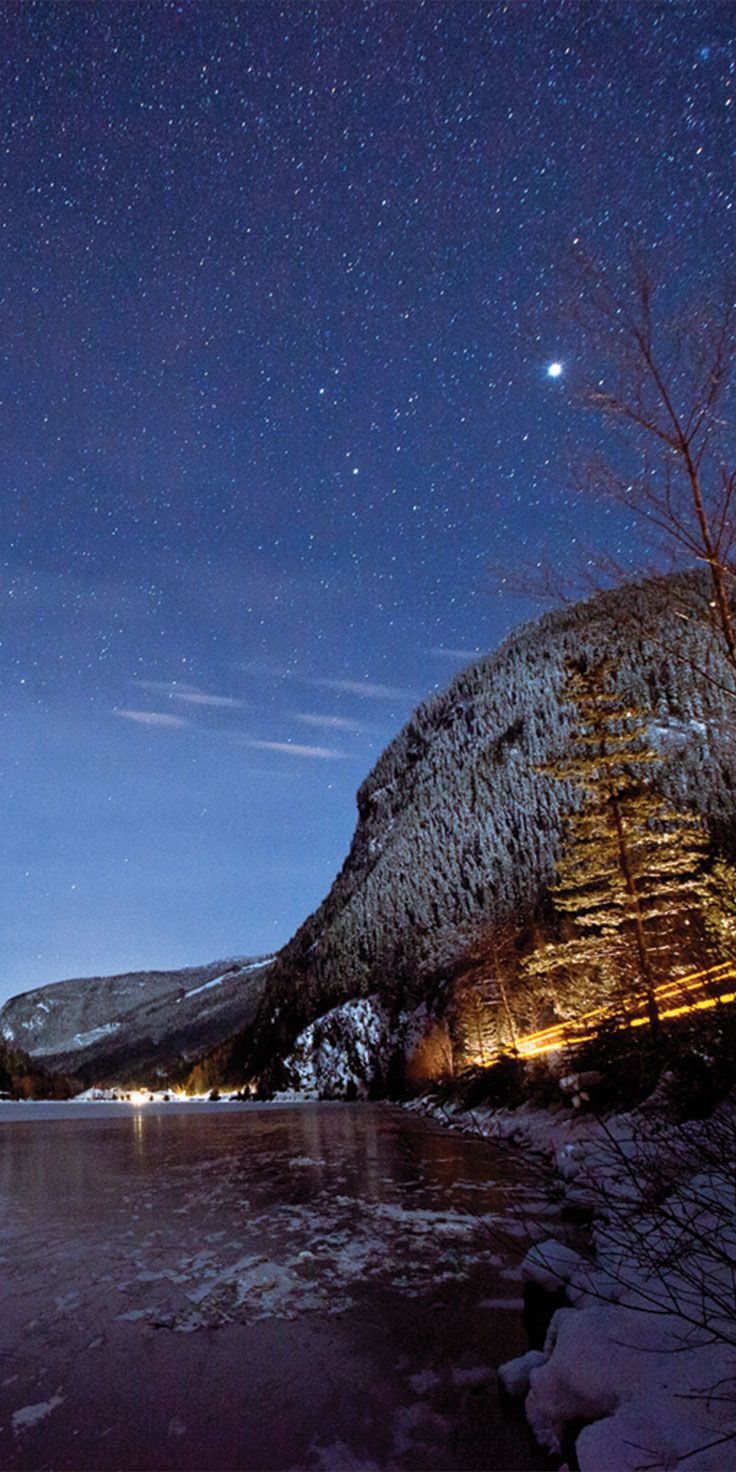 3 valley gap at night, Canada - by Thurston Photo