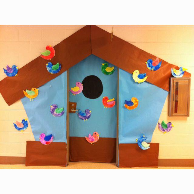 Birdhouse for classroom door. Great for Spring!