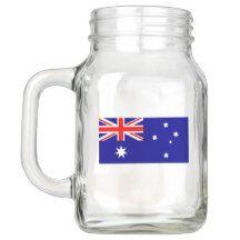 Patriotic Mason Jar with Flag of Australia