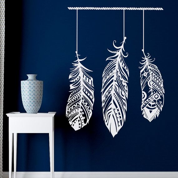 Feather Wall Decal Stickers Tribal Wall Art Boho Bohemian Decor Living Room Bedroom Dorm- Feather Wall Art- Dream Cather Wall Art Approximate Item Sizes:  30 Tall x 22 Wide 37 Tall x 28 Wide 48 Tall x 36 Wide Dont see the size you need? Send us a message for your custom needs and we will create a listing just for you. Picture may not reflect true size.  Choosing from the color chart above, please leave your choice of color in the message box when purchasing. If a color is not chosen black…