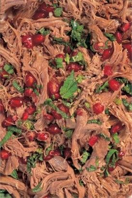 WARM SHREDDED LAMB SALAD WITH MINT AND POMEGRANATE