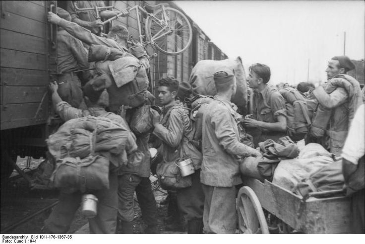Italian troops board a train somewhere in the Balkans in 1941. Discipline, as the photo shows, is a bit on the think side. But who can blame the men for their Southern European attitude? Italian troops, with the exception of hard-core fascists, were generally less inclined to act like their Nazi allies against the populations of occupied areas.