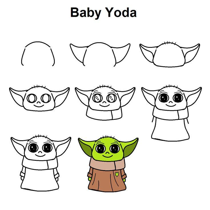 Grogu Baby Yoda Easy Doodles Drawings Cute Easy Drawings Easy Drawings