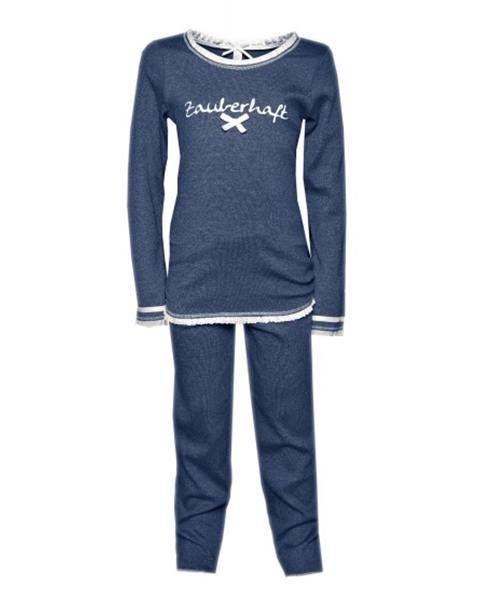 """Süßer Pyjama für Kinder von der Firma Louis und Louisa mit  """"Zauberhaft"""" aufgestickt, perfekt zum Wohlfühlen.  Maschinenwaschbar bei 30°.  Louis und Louisa ist ein Trendlabel in Sachen Nachtwäsche, Shirts und Unterwäsche. Das Unternehmen legt stets großen Wert auf weiche Qualitäten in welchen Sie sich rund um wohlfühlen werden. Durch verspielte Designs und immer neue Sprüche machen die Kollektionen Spaß und gelten als echter Geheimtipp am Markt."""