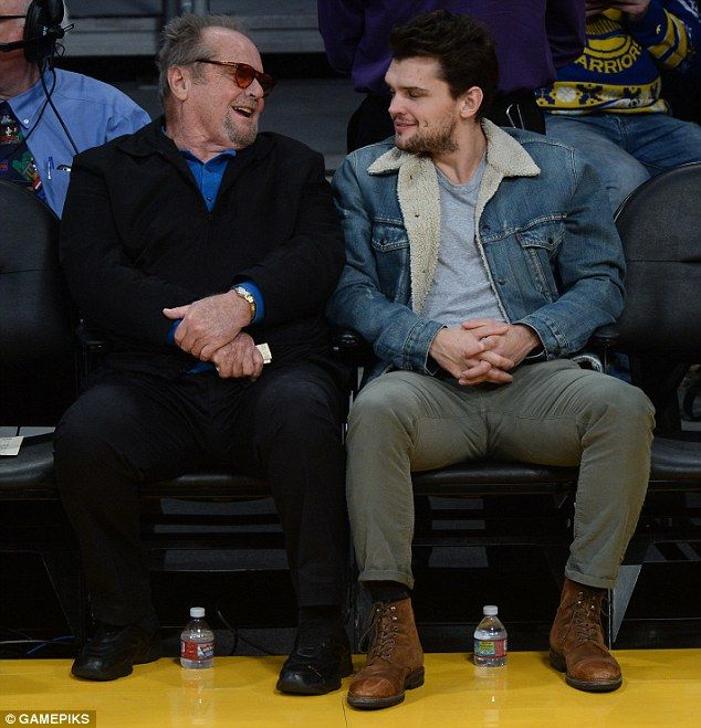 Nichol-son: Jack Nicholson and son Ray bonded courtside as they watched their beloved LA Lakers crush California rivals Golden State Warriors on Friday night