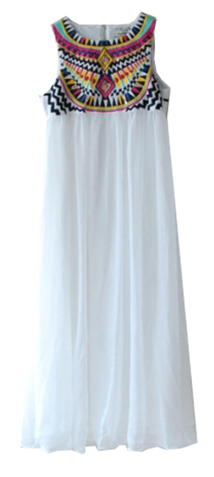 White Sleeveless Embroidery Chiffon Dress