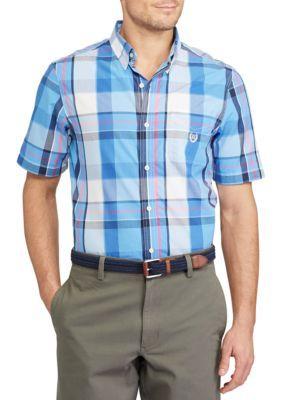 Chaps Men's Big & Tall Short-Sleeve Plaid Shirt - Florida Blue - 3Xlt