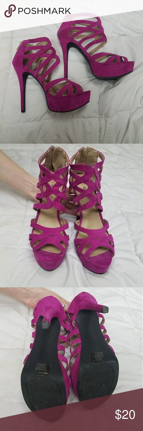Justfab Lilias purple strappy heels Worn once JustFab Shoes Heels