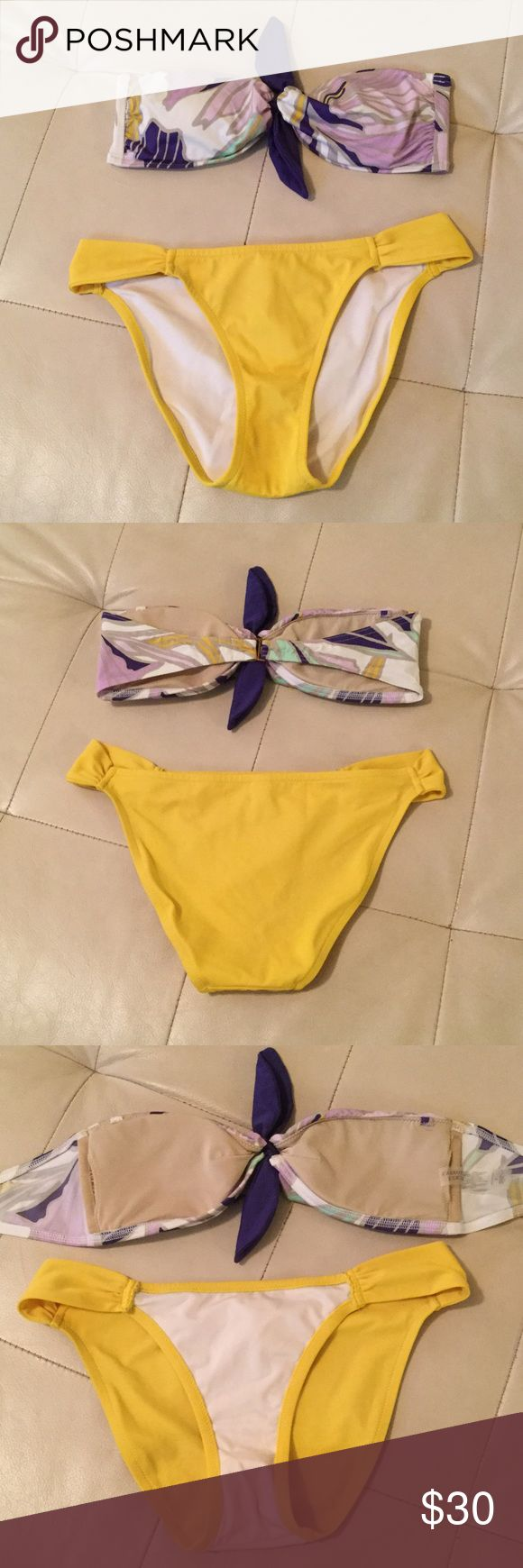 Victoria's Secret bathing suit Super cute Victoria's Secret bikini,  excellent condition! Yellow bottoms multi color bandeau top with yellow and purple accents! I extra strap not included. Victoria's Secret Swim Bikinis
