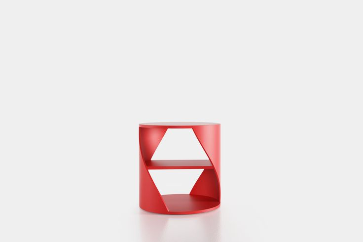 Cylindrical side table with a middle shelf, from the collection MYDNA designed by Joel Escalona. Made of wood and heavy-duty fibers. Finished in natural wood or semi-gloss lacquer. MYDNA Table Red #Table #Sidetable #furniture #design #nono #coolinteriors