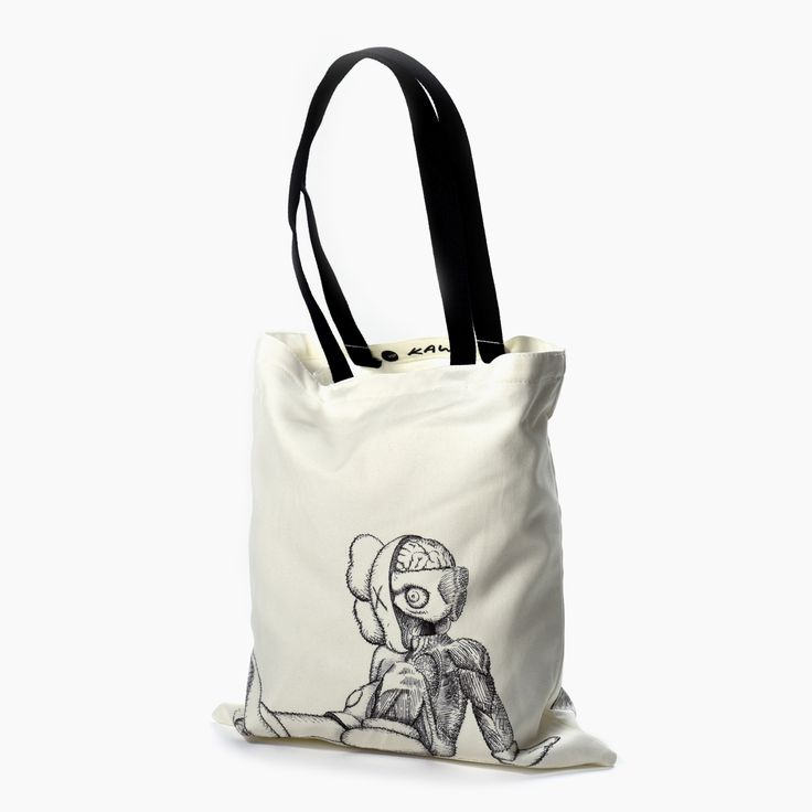 KAWS Resting Place Tote Bag:  Lined canvas bag designed by KAWS to accompany his 2016 exhibition at Yorkshire Sculpture Park.