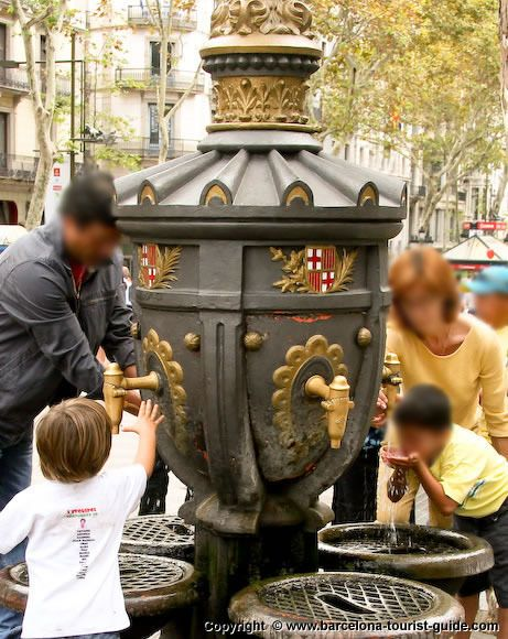 Famous Drinking Fountain on La Rambla. One sip and you will be back.