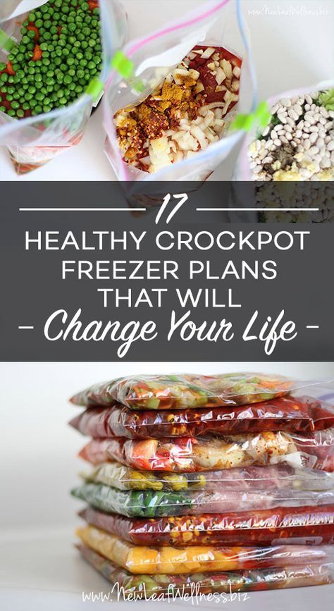 This is a great list of 17 Healthy Crockpot Freezer Meals That Will Change Your Life! Includes a FREE download of grocery list and recipes!