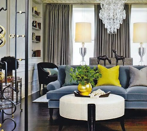 Slate Blue Sofa With Grey And Yellow Color Inspiration Pinterest Sarah Richardson Grey