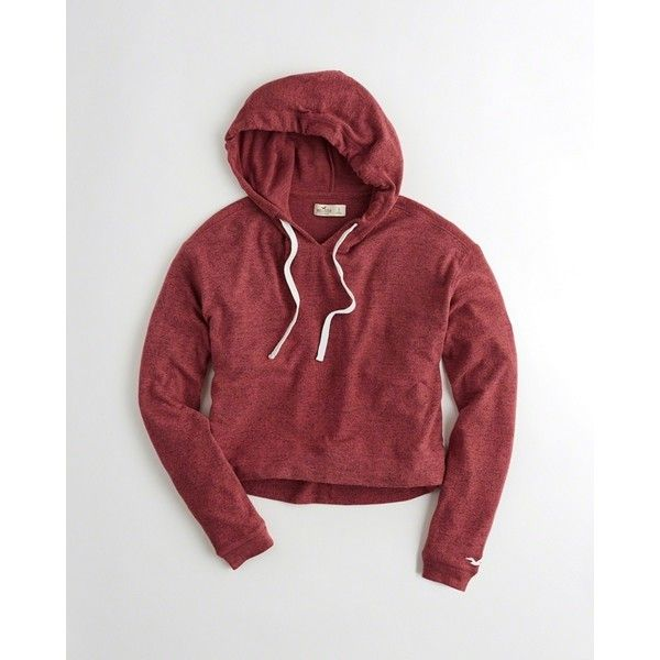 Hollister Boxy Hoodie ($40) ❤ liked on Polyvore featuring tops, hoodies, heather red, hooded pullover, sweatshirt hoodies, red cropped hoodie, cropped drawstring hoodie and red hooded sweatshirt