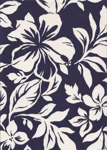 20paka White Hawaiian Hibiscus & Orchid Flowers on a navy blue cotton apparel fabric.  BarkclothHawaii.com