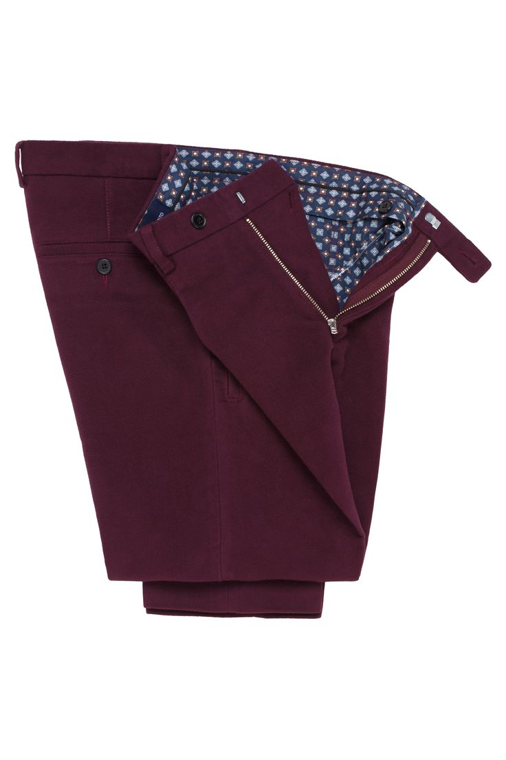Burgundy Moleskin Trousers - Mens best choice for colder months
