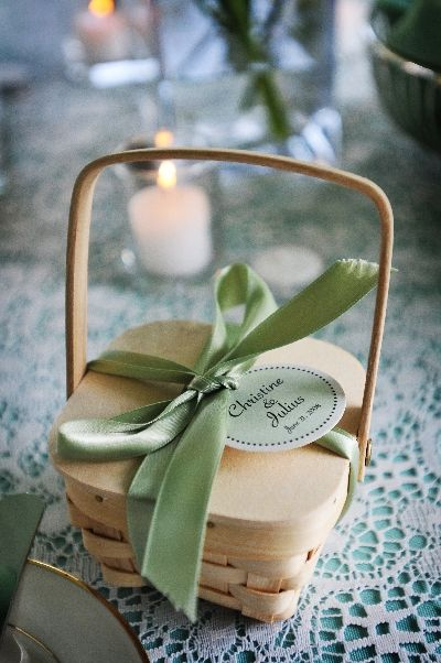 Wedding Favor Gift Baskets ...mini picnic basket with satin ribbon and label with gourmet truffles or other sweets inside