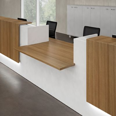 Reception Desk Furniture. Love the shorter transaction counter, but I don't like the wood finish.
