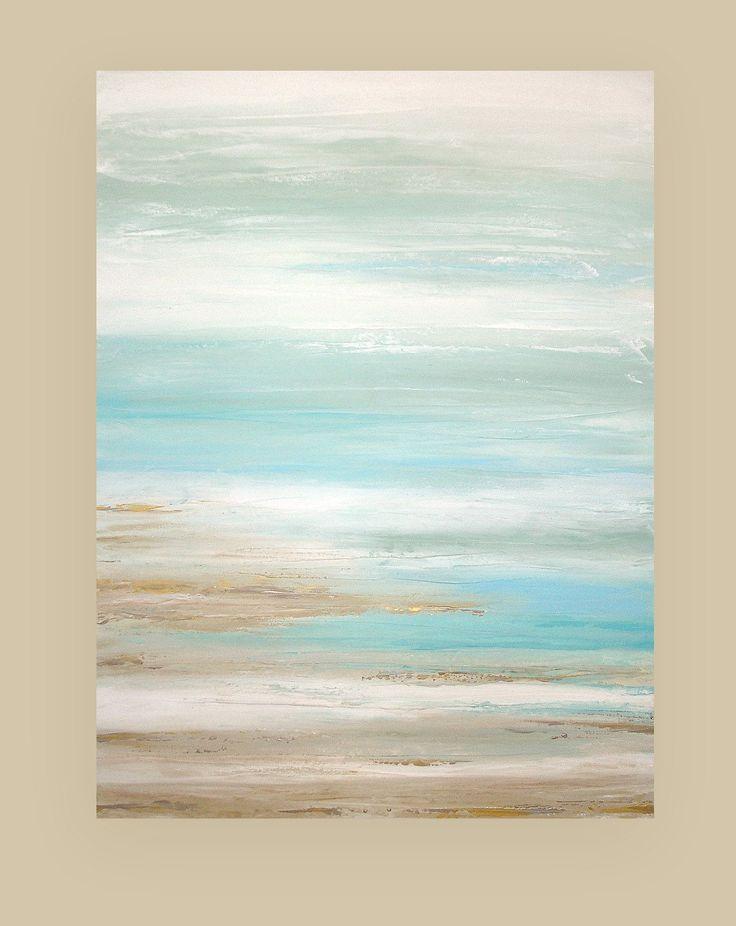 Shabby Chic Kunst Original Acryl abstrakt Strand Gemälde mit