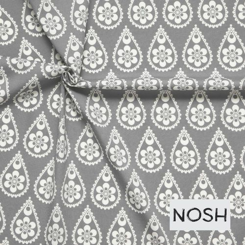 Paisley Drops, Gray Organic Jersey fabric: 95% Organic Cotton, 5% Elastane