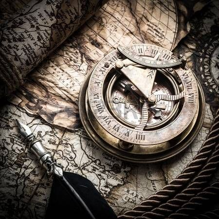 vintage still life with compass sextant and old map photo pinterest cols et tatouages. Black Bedroom Furniture Sets. Home Design Ideas