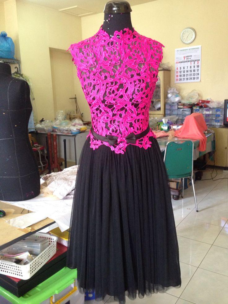 Fuschia Prada Lace with Black Tulle