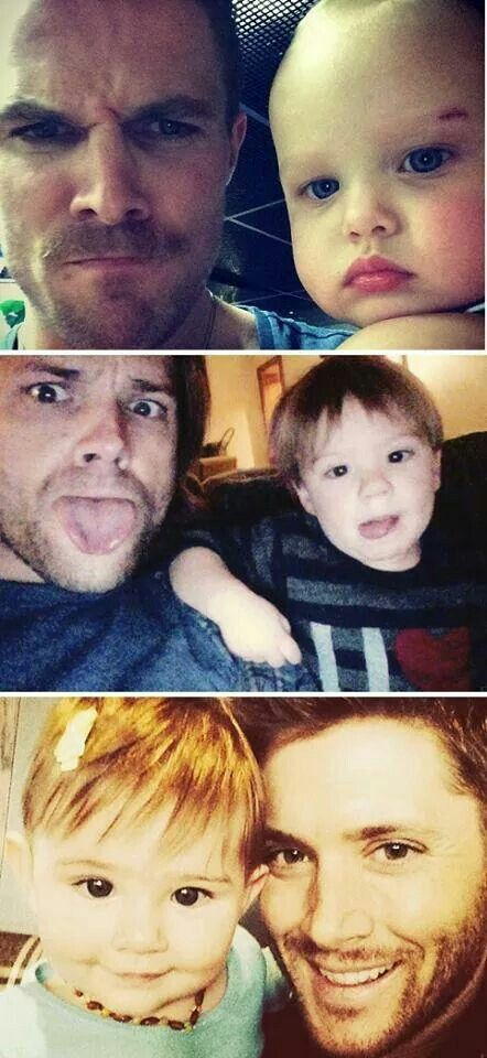 Jared Padalecki, Jensen Ackles and Stephen Amell with your babies.