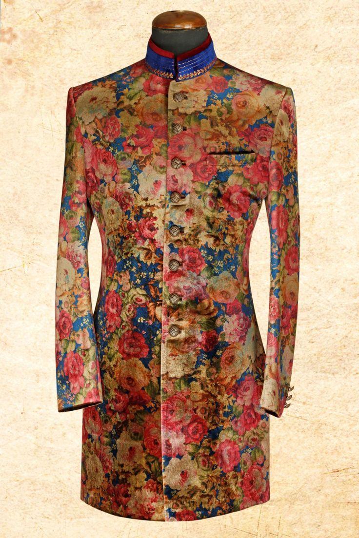 #Pink multicolor aristocratic #velvet sherwani with bandhgala-IW628