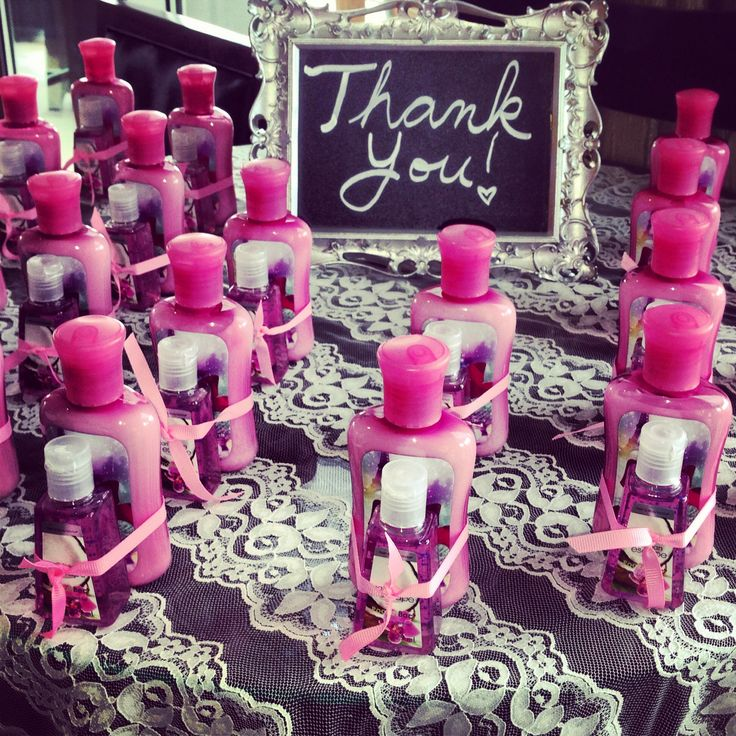 bath and body works lotion with matching hand sanitizes - cute bridal shower favors