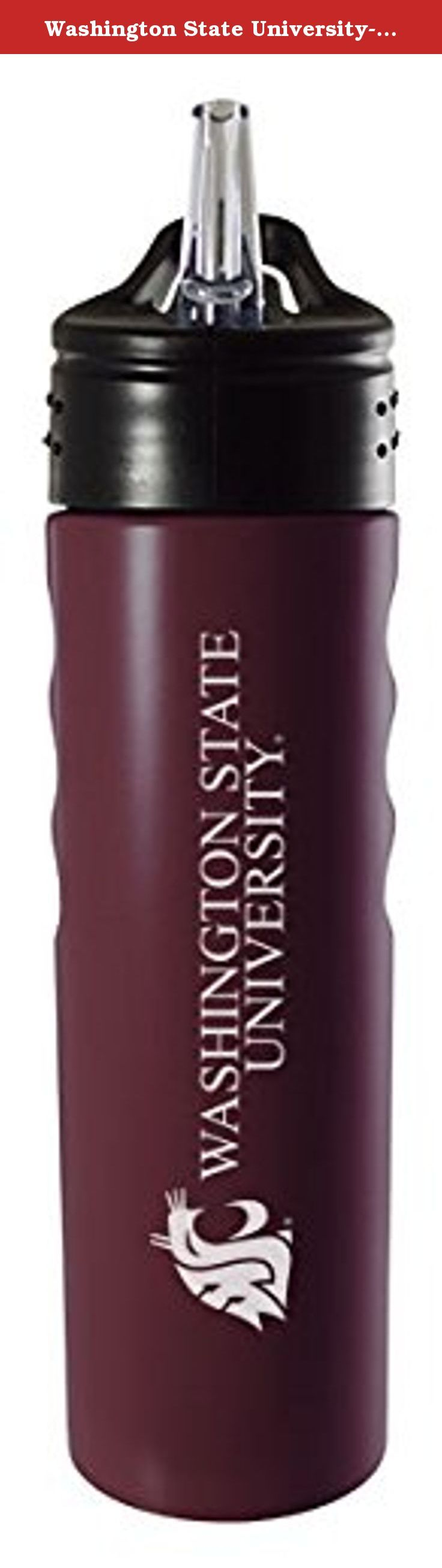 Washington State University-24oz. Stainless Steel Grip Water Bottle with Straw-Burgundy. This Washington State University This 24oz. Stainless Steel water bottle is a beautiful way to proudly show off your team spirit while enjoying your favorite drink. This water bottle has a modern sleek look made for style and comfort with its solid matte finish, debossed finger grip and a pull up spout and straw for easy access drinking.